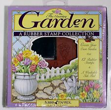 Country Garden Rubber Stamp Collection  12 Rubber Stamps & Washable Ink Pad