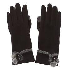 Ladies Meryl Black Gloves with Faux Fur Pom Poms on Wrist