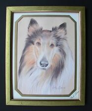 A  MOST BEAUTIFUL SIGNED JOHN EVANS FRAMED PRINT OF A COLLIE DOG