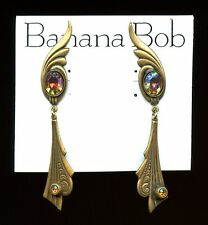 Vtg BANANA BOB AB COLORADO TOPAZ ART DECO STYLE DANGLE EARRINGS ANTQ BRASS OX  P