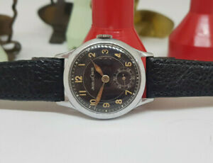RARE 1940'S WW II JAEGER-LeCOULTRE BLACK DIAL MILITARY MAN'S WATCH
