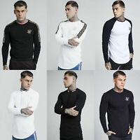 Sik Silk Mens Designer Casual Curved Hem Retro Long Sleeve Longline T Shirt Tee