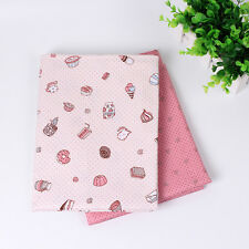 2PCS Cute Cotton Fabrics Patchwork Textile Sewing For Doll Clothes DIY Crafts