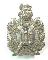 19th century Kings own Scottish Borderers Cap Badge QVC crown screw back