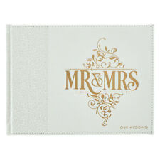 Mr & Mrs Our Wedding Guest Book: Inspirational, White, Gold Letters, Lux Leather
