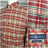 Ralph Lauren Big Shirt Mens Lg L/S Button Down Plaid Flannel Shirt Pony VGC