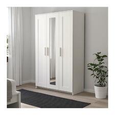 IKEA BRIMNE LARGE SIZE 3 DOOR WARDROBE WITH MIRROR ADJUSTABLE WOODEN WHITE OAK