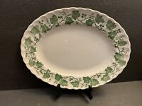 Churchill Staffordshire Verdigris Ivy Leaf Oval Serving Platter Tray 14 RARE VTG