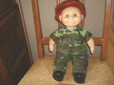 """1986 Wanna be Doll Red hair Blue eyes 18"""" w/ 2 piece Camouflage outfit & boots"""