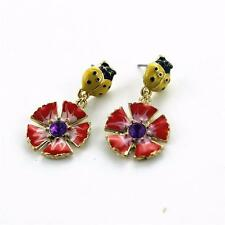 PRETTY FLOWER & LADYBIRD STUD EARRINGS - ENAMELLED - FREE UK P&P..........CG0473