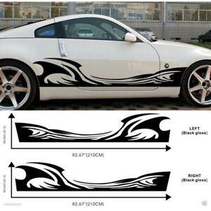 2pcs Heat Hot Wave Vehicle Car Side Body Skirt Decal Graphic Sticker Universal