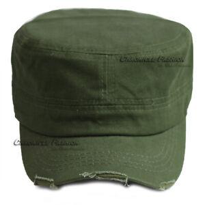 Cadet Hat Army Castro Baseball Cap Military Adjustable Distressed Plain Men Hats
