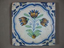 Polychrome Antique Dutch flower tile Akkoladen framing 17th- free shipping
