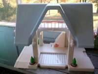 Vintage 80s 90's Little Tikes Dollhouse Playhouse Blue Roof A Frame Doll House