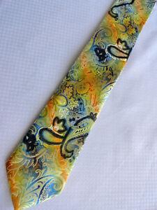 "Stacy Adams NWT Vibrant Necktie XL 62"" Blue Yellow Black"