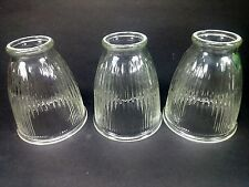 Set of 3 Vintage Ribbed Clear Glass Shades/Globes for Ceiling Fan Fixture