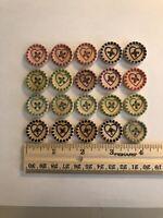 Lot Of 20 Wooden Heart Buttons