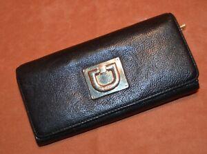 """DKNY Black Leather fold over zipper back pocket 7.5"""""""