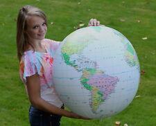 "32"" Inflatable Earth Globe ""LT. BLUE"" Political World - Blowup Beach Ball"