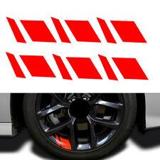 6pcs Wheels Rims Sport Racing Decal Stripes Stickers Emblem Red Car Accessories