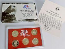 2004 U.S. Mint SILVER 50 State Quarter Proof Set. 5 Coin Set. w/ box & COA