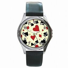 Poker BlackJack Playing Card Suits Red Black Leather Watch New!