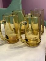 Set of 4 Vintage Amber Color Glass Cup Float Mug or Beer Stein with Handles 12oz