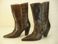 Women's sz 8 B M Charlie 1 Horse by Lucchese Brown Leather Cowboy Boots Side Zip
