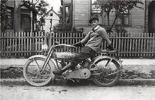 MOTORCYCLE Real Photo RPPC Postcard Reprint C1980 HARLEY DAVIDSON Ride Shirt M75