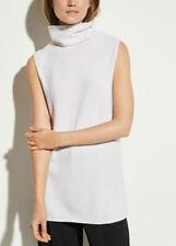 Vince Women's Sweater Small Ivory Cashmere Sleeveless Turtleneck Elongated $325