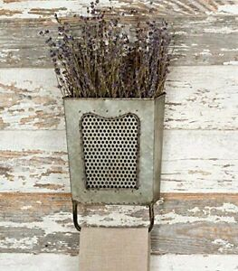 Distressed Galvanized Steel Vintage Retro Dalton Wall Box with Towel Bar Rack