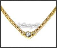 Diamant Damen Collier mit 0,21ct Brillant, 11,2g 585 Gelbgold, Flachpanzer Kette