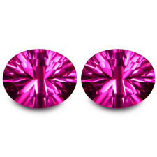 11.47Cts Fire Natural Top Pink Topaz 12x10mm Oval Concave Cut Matching Pair Gems