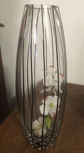 "Black Tie Tall Vase Crate & Barrel Clear  Black Stripes 11""Glass Hand Blown"