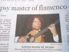 1921-2014 MANITAS DE PLATA OBITUARY GYPSY MASTER OF FLAMENCO GUITAR