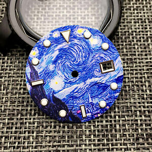 31mm Blue Luminous Watch Dial Kanagawa Surfing Dial for NH35 Movement Spare Part
