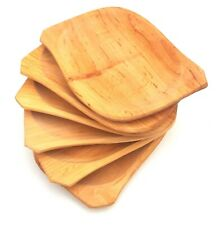 "Wooden plate set of six 9 "" wide medieval serving plate  alder wood"