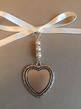 Bridal Bouquet Charm Heart Photo Frame Memory Wedding Handmade Swarovski Beads