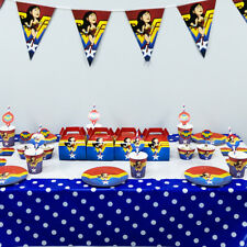86pcs Wonder Woman Theme Birthday Party Supplies For 12 Kids Child Tableware Set