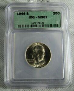 1946-S Uncirculated Washington Quarter Certified ICG MS 67