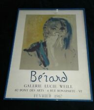 ART Mid Century French Christian Berard Poster for Lucie Weill Gallery 1967