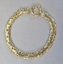 12mm Wide 14k Solid Yellow Gold Flat Byzantine Link 7 inch Bracelet 9.5g