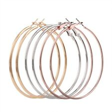 3 Pairs plain round fashion hoops dangle earrings gold, rose gold & silver 58mm