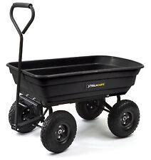 New Gorilla 600lb Capacity Poly Dump Utility Yard Cart Black Dump Wheel Barrow