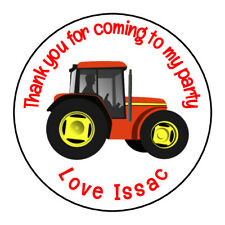 Red Tractor Digger Personalised Thank You Sticker Party Sweet Cone Birthday