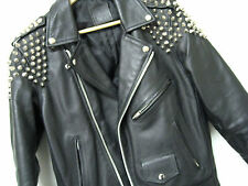 Leather Biker Jacket The Ragged Priest Studded Genuine Hide Punk Brando Cool