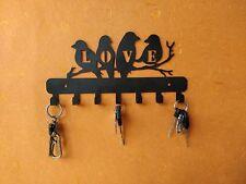 "Wall Mounted Key Holder Antique Steel Love Bird 7 Hooks Key Rack 5.5"" Home Decor"