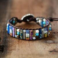 Women Tube Shape Natural Stone Single Leather Wrap Bracelet Semi Precious Beaded
