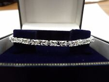 New Solid Sterling Silver.925 Square Byzantine Bracelet 11 grams