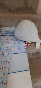 Whale design blue stripe white curtains 66x54inch with tiebacks and plush